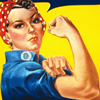 Thumbnail and detail from Rosie the Riveter poster with slogan