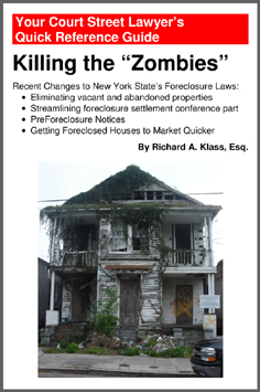 "Cover of book: Killing the ""Zombies"": Recent Changes to New York State's Foreclosure Laws by Richard A. Klass, Esq. Shows house at 3428 Dryades Street, New Orleans in state of advanced decay, illustrating article or book by Richard Klass, Esq. about New York State foreclosure laws. Photo by anthonyturducken. https://www.flickr.com/photos/37338074@N00"