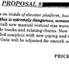 detail of scan of proposal to install inside gates on an elevator for safety