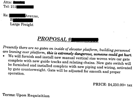 "Scan of redacted proposal, with words in bold saying, about an elevator that lacked a gate on the inside of the elevator platform, ""this is extremely dangerous, someone could get hurt."" This image illustrates an article by Richard Klass discussing a personal injury case."
