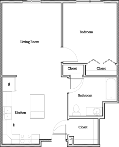 1 Bedroom Apartment: Approximately 682 sq ft