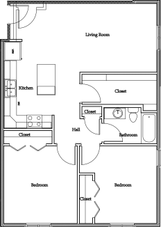 2 Bedroom Apartment (Version A): Approximately 885 sq ft
