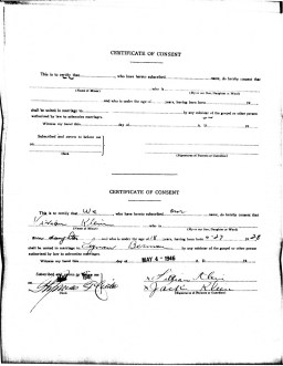Seymour Berman and Vivian Klein Berman, Marriage Certificate of Consent