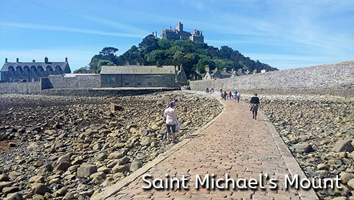 Photo of the walking approach to Saint Michaels Mount in Mount's Bay, Cornwall, England