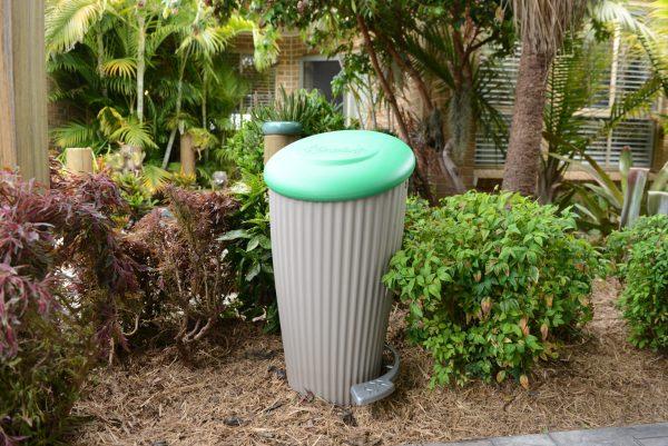 pet poop composter installed