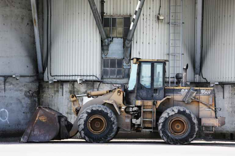 construction tractor excavator site