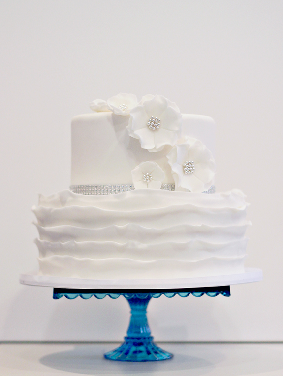 White Ruffle Cake Yellow Wedding