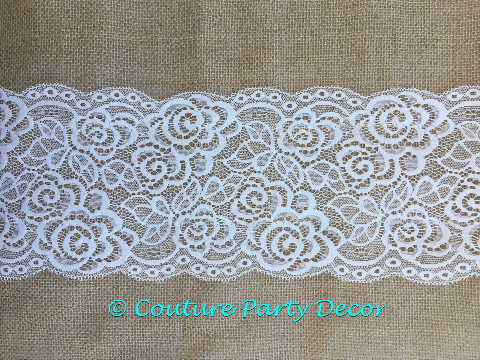 BURLAP LACE TABLE RUNNER  Couture Party Decor