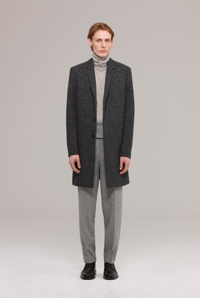 Japanese wool tailored coat with silk linen mix polo-neck