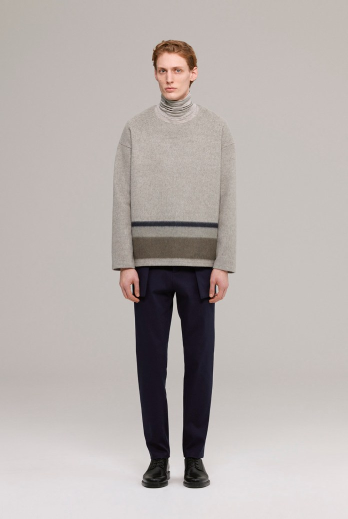 Brushed wool jumper with silk linen mix polo-neck
