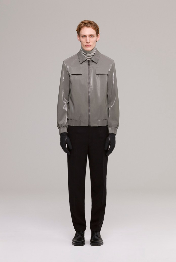 Blouson in iridescent fabric and silk linen mix polo-neck