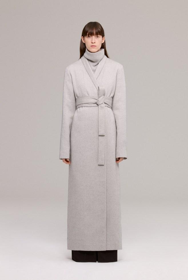 Grey textured wool floor length coat
