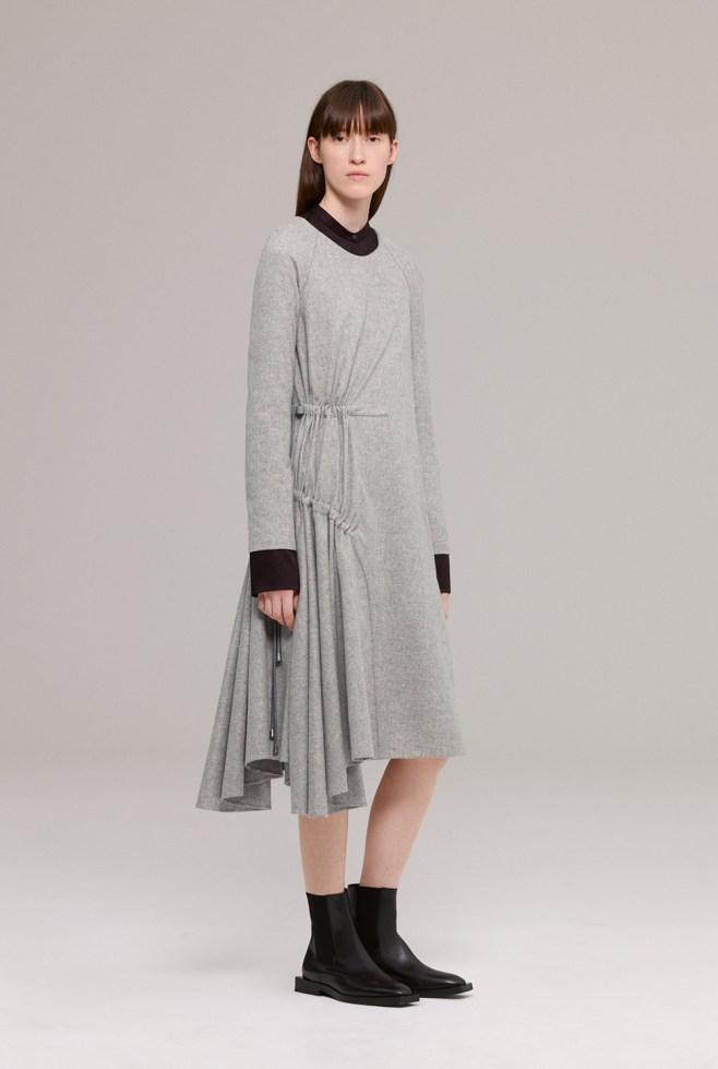 Grey wool flannel dress