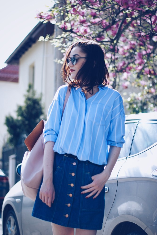 Denim Button Up Skirt, Striped Shirt, SilverShoes, Backpack by Andreea Birsan