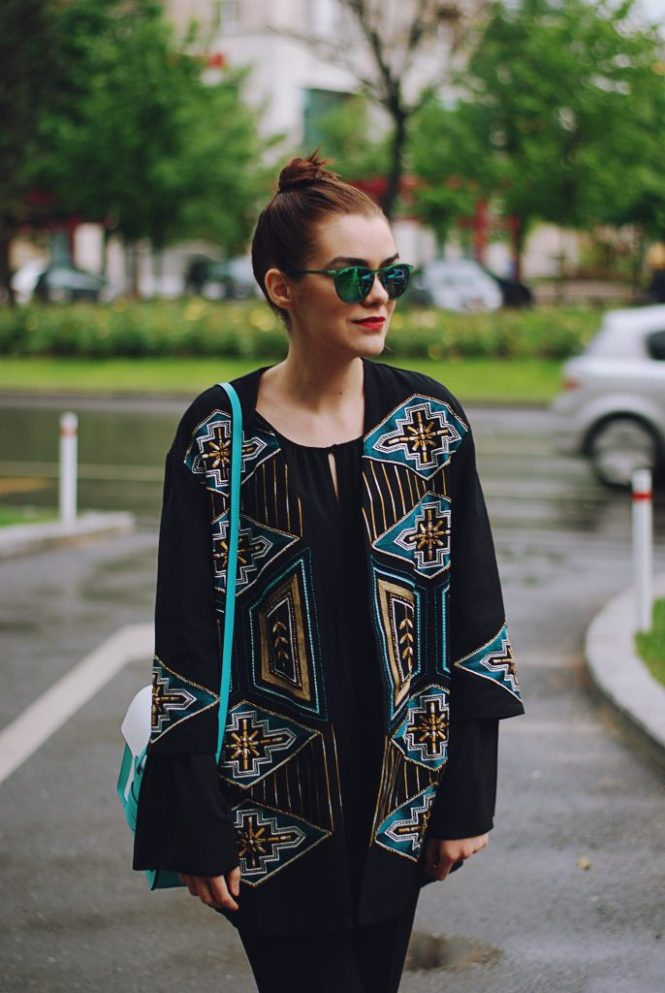 Embellished jacket, black bell sleeve blouse, green sunglasses, leather bag, spring outfit by Andreea Birsan