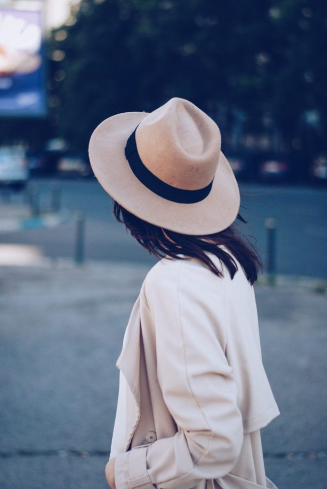 So Real sunglasses, camel hat, white blouse, trench coat, spring outfit by Andreea Birsan