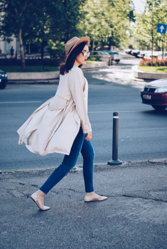 Trench coat, camel hat, so real sunglasses, white blouse, distressed skinny jeans, beige lace up flats, spring outfit by Andreea Birsan