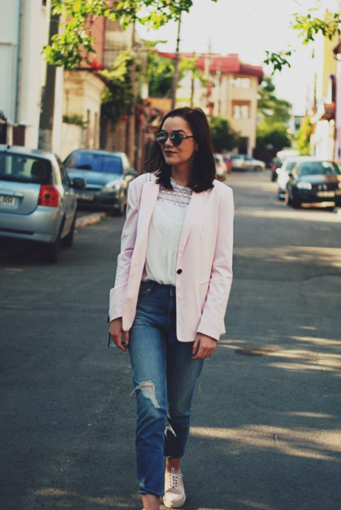 Pink blazer, white ruffle top, distressed boyfriend jeans, pink oxford shoes, color block crossbody bag, so real sunglasses, spring outfit by Andreea Birsan