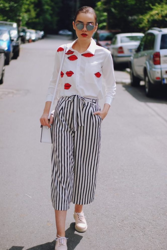 Striped culottes, lips print shirt, statement shirt, pink oxford shoes, color block bag, so real sunglasses, cute summer outfit by Andreea Birsan