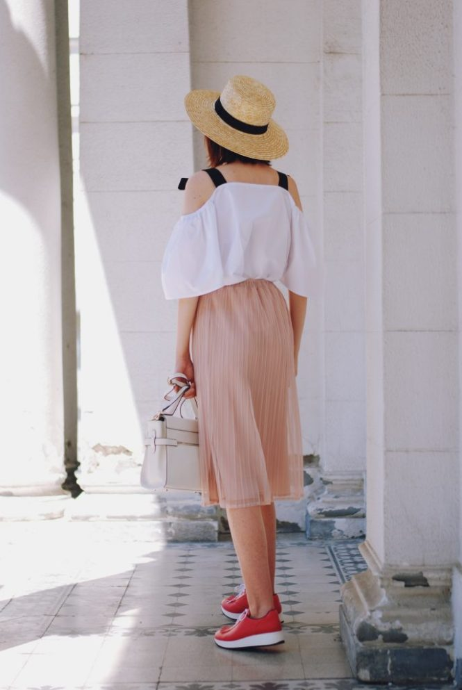 Cold white off shoulder top, straw hat, blush pink midi skirt, sunglasses, pink sneakers shoes, white crossbody bag, cute summer outfit, Andreea Birsan