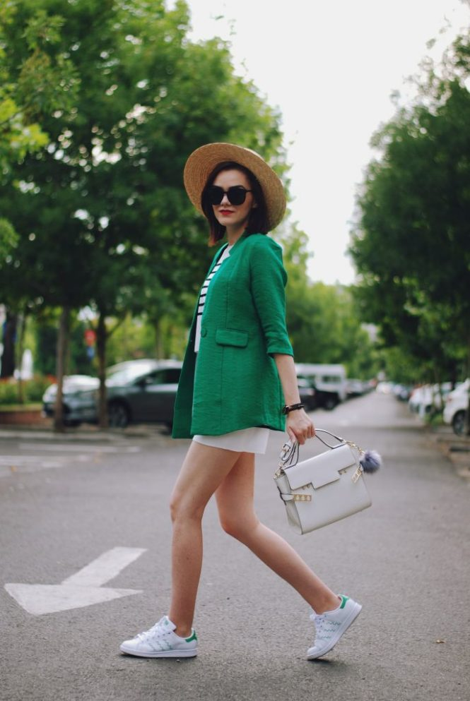Green blazer, striped co-ord twin set, straw hat, white crossbody bag, black sunglsases, stan smith white sneakers, bellabeat, cute summer outfit, Andreea Birsan