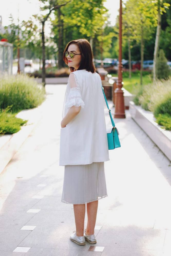 Grey pleated midi skirt, white blouse, white vest, christian dior sunglasses, color block crossbody bag, silver metallic shoes, cute summer outfit, Andreea Birsan
