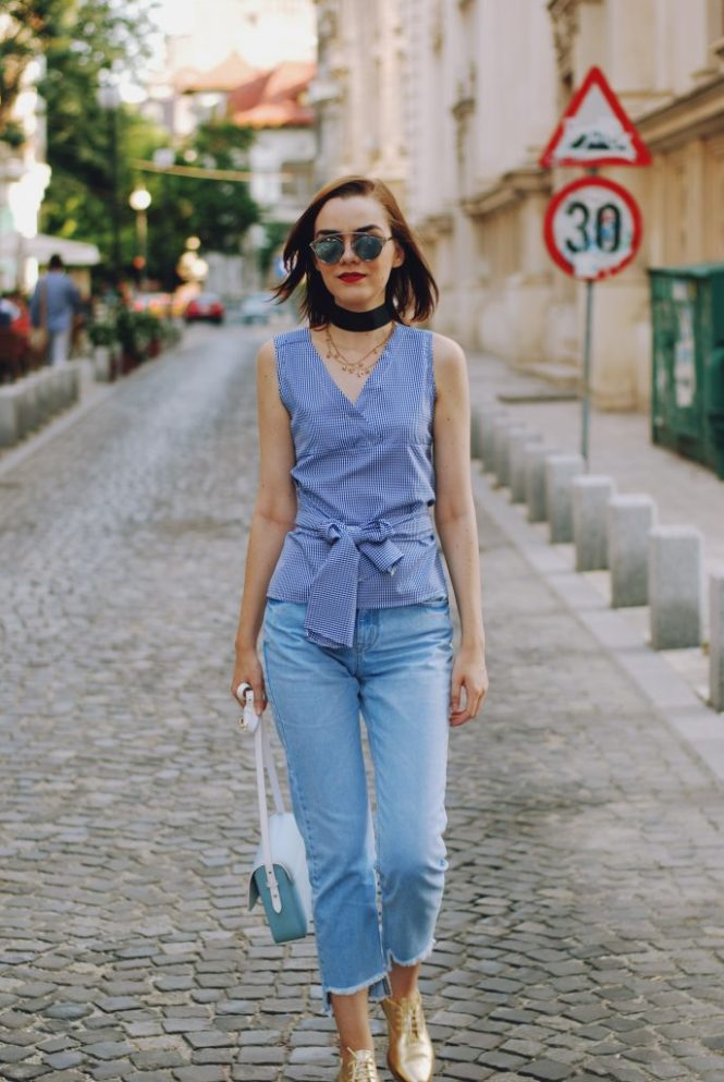 Baby blue leather crossbody bag, gingham wrap top, mom jeans, gold metallic shoes, chocker, dior sunglasses, cute summer outfit, Andreea Birsan
