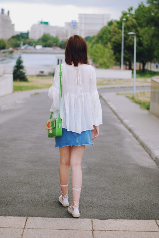 Christian Dior sunglasses, denim mini skirt, white bell sleeve top, green bag, white lace up espadrilles, cute summer outfit, Andreea Birsan