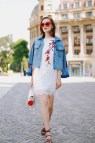 White Lace Dress with Denim Jacket