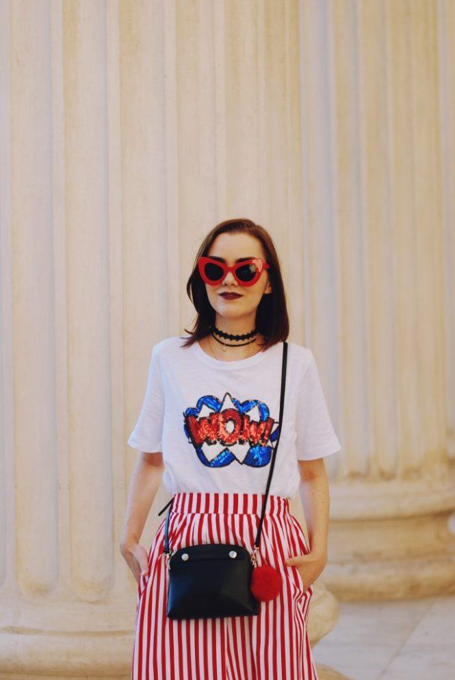 Striped midi skirt, red sunglasses, furla mini crossbody bag, sequin tshirt, chocker, pom pom, white sneakers, cute summer outfit, Andreea Birsan