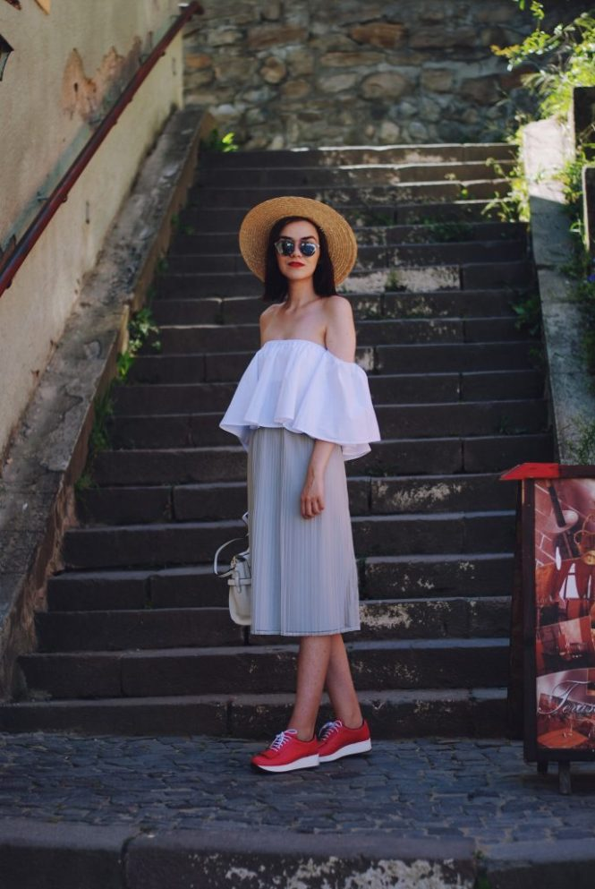 White off shoulder top, grey pleated midi skirt, straw hat, white crossbody bag, pink sneakers shoes, christian dior sunglasses, cute summer outfit, Andreea Birsan