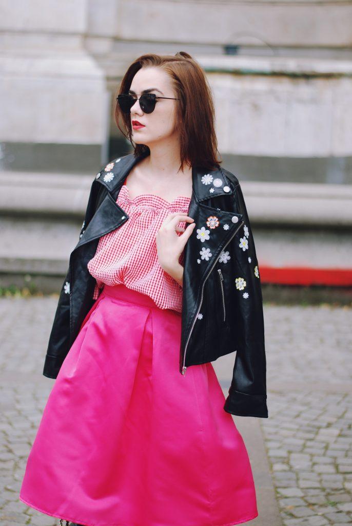 Cute leather zip Jacket