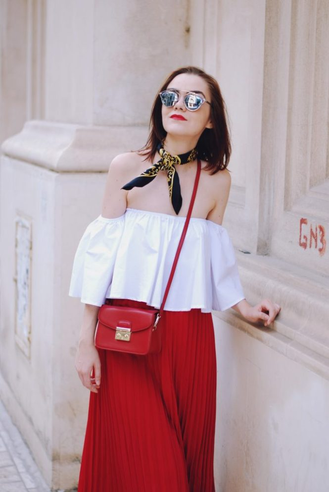 Pleated red midi skirt, white off shoulder top, scarf, red crossbody bag, gold metallic flat mules, dior sunglasses, cute autumn outfit, Andreea Birsan