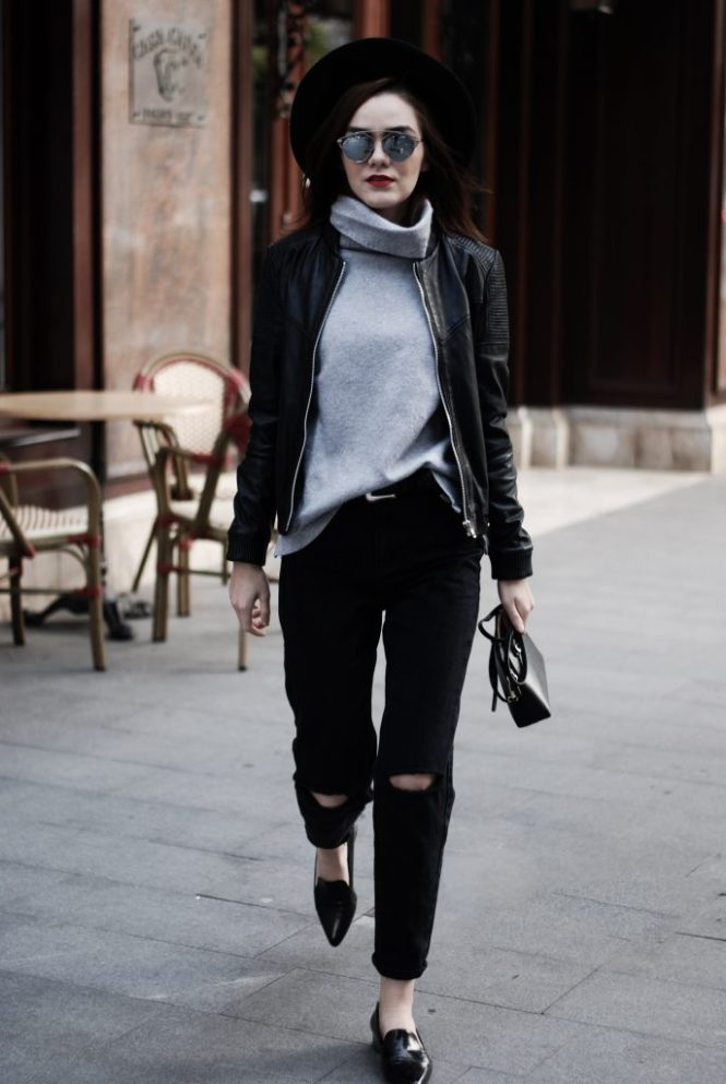 Leather jacket, grey wool sweater, black distressed mom jeans, belt, furla bag, loafers, casual fall outfit street style idea, Andreea Birsan