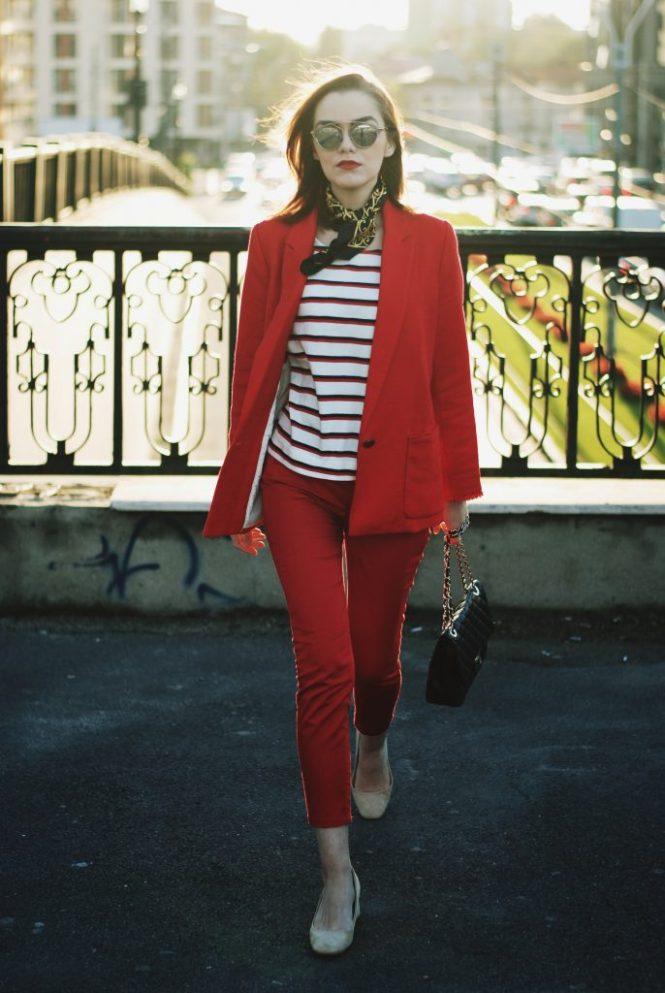 Red pants trousers, red blazer, striped top, scarf, beige suede pumps, black leather crossbody bag, cute casual outfit idea street style, Andreea Birsan