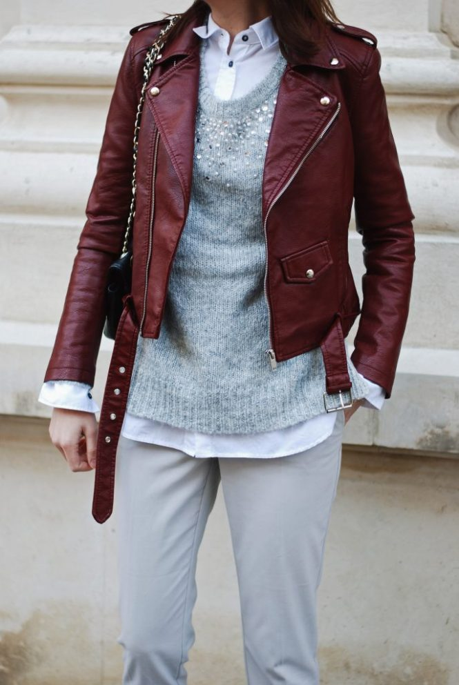 9ca391d2 burgundy leather jacket, embelished grey sweater, grey trousers, adidas  stan smith white sneakers