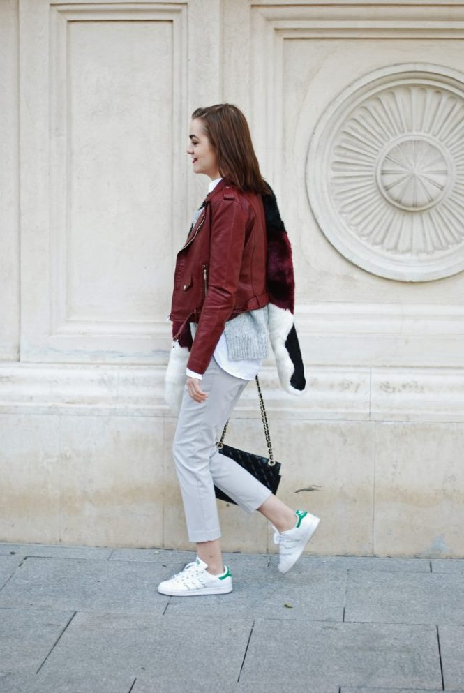 burgundy leather jacket, embelished grey sweater, grey trousers, adidas stan smith white sneakers, zara, black quilted leather crossbody bag, faux fur scarf, white button down shirt, grey outfit, cute and casual fall outfit ideas 2016, couturezilla, andreea birsan