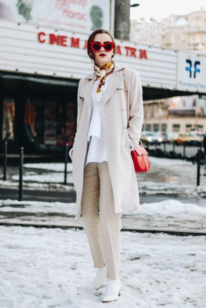 H&M light beige trench coat, zara ruffle white shirt, frilled blouse, chloe drew lookalike crossbody bag, chloe drew red bag, beige massimo dutti pants, beige trousers, relaxed fit, mango white leather ankle boots, retro red sunglasses, andreea birsan, couturezilla, cute winter street style outfit ideas 2017, casual winter outfit ideas inspiration, red and beige, vintage scarf, nyfw, new york fashion week street style, winter fashion week, fashionista, european fashion blogger, romanian fashion blog, topshop, asos, how to dress in neutral colors in winter, what to wear when it's cold, chic on a budget, fall outfit inspo, ootd, outfit of the day, how to look luxe on a budget, pinterest women outfit, tumblr girls