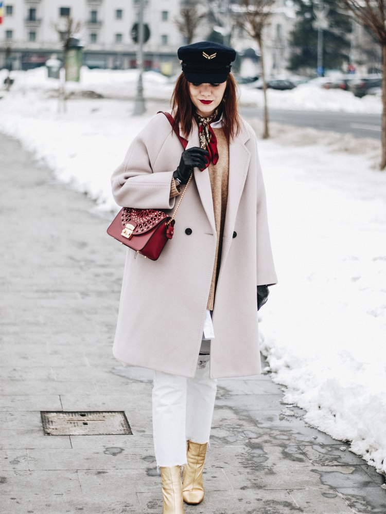 Chicwish oversize coat, H&M brown camel sweater, winter neutrals, distressed mom jeans, pull&bear boyfriend white button down shirt, mango premium denim white jeans, zara gold metallic leather ankle boots, furla red metropolis crossbody bag, andreea birsan, couturezilla, tommyxgigi hat, tommy hilfiger, topshop, asos, how to wear fishnet tights, how to layer, winter whites, cute winter outfit ideas 2017, casual winter outfit looks, pinterest outfits for women, tumblr girls, winter street style, nyfw, new york fashion week, lfw, fashion week, london, milan, mfw, fashion trends for 2017, how to avoid wearing black in winter, chanel gloves, european winter street style, romanian fashion blog, fashionista, european fashion blogger, red lipstick, minimal office look