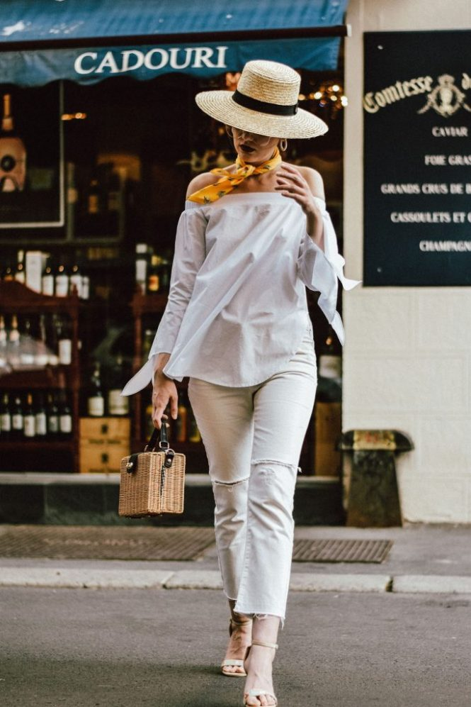 Mango cropped distressed white jeans, asos white mom jeans, photos, pictures, photography, topshop boyfriend white jeans, levi's jeans, vintage, zara white off shoulder top, ots top, summer blouse, rivers island, nanacay square straw bag, bamboo bag, woven bag, norstrom, boohoo, stradivarius, berhska, public desire flower embroidered sandals, raffia bag, the best bag for summer, woven, boater straw hat, fedora hat, how to wear a straw hat, how to wear all white in summer, all white summer outfit ideas, andreea birsan, couturezilla, cute summer outfit ideas 2017, ootd, outfit of the day, european summer street style 2017, fashion trends for summer, what to wear when it's too warm, you will want to wear, chic on a budget, vintage floral yellow scarf, skinny scarf, girl, woman, chic pinterest outfit for women, summer outfit inspiration, tubmlr girls photos, pictures of outfit, women with style, how to look parisian chic, the best minimal outfit, ray ban clear lens glasses, the glasses which are all over instagram, aviator glasses, frames, floral embroidered strappy sandals, embroidery, floral, style inspiration, european fashion blog, romanian fashion blog, parisian stand with wine, yellow cream and white outfit, summer blouse, off the shoulder, raw hem jeans, denim, casual outfits for women during summer and spring, how to beat the heat, the best outfit ideas, fashionista, romanian fashion blog, uk fashion blogger, style icon, how to wear all white like a pro, white summer outfit, bucharest