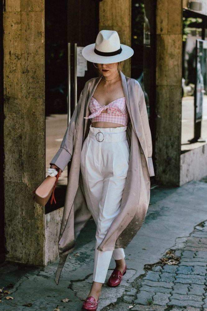 Cloroom mulberry silk dusty pink kimono robe, silk robe, how to wear sleepwear on the street, silk sleepwear, pull and bear pink and white gingham crop top pink, mango white trousers, topshop white peg trousers, coolest pants of instagram, the best white trousers, circle belt pants, white trousers, how to wear white trousers like a pro, the adult way to wearing a crop top, pink and white gingham blouse, tie front blouse, white and pink, how to wear more shades of pink in one outfit, gucci horsebit pink loafers, pink gucci shoes, classic gucci shoes, hot pink shoes, how to wear pink like a pro, what to wear with a crop top, how to wear a crop top and not look awkward , brixton white panama straw hat, gucci pink loafers, mini bag, andreea birsan, couturezilla, cute summer outfit ideas 2017, colorblock mini leather bag, shoulder bag, micro bag trend, statement tote handles, statement bag, pink and red bag, cutest mini bag, aviator glasses, the clear lens glasses you have seen all over instagram, the best eye glasses, how to wear glasses and not look like a geek, crop top and high waisted pants, high waist trousers, the sold out zara trousers, how to look Parisian chic, European summer street style inspiration for women 2017, pinterest chic outfit ideas for woman, summer outfit ideas, summer ootd inspiration, outfit of the day, ootd, fashion icon, style inspiration, fashionista, fashion inspiration, style inspo, what to wear in summer, how to look French, chic on a budget, zara outfit, mango, topshop, asos, river island, forever 21, urban outfitters, how to mix high end pieces with luxury ones, zara and Gucci, how to look chic when not wearing a dress, outfit alternatives for summer, tomboy chic, minimal outfit, tumblr girls photos, pictures, happy girl, women, smart casual outfits, the best outfit ideas 2017, what to wear when you don't feel inspired, summer in Europe, weekend attire, uniform, French women in summer, European outfit ideas 2017, minimal chic outfit, how to stand out, the best outfit ideas for summer, the sunglasses you have seen everywhere on Instagram, glasses, uk fashion blogger, united kingdom, uk fashion blog, fashion and travel blog, Europe, women with style, street style, summer fashion trends 2017, best fashion ideas, styling, fashion editorial, web editorial, style ideas 2017, rose, flowers, statement accessories, jewelry, choker necklaces, dreamy accessories, how to layer necklaces, this is not a love story