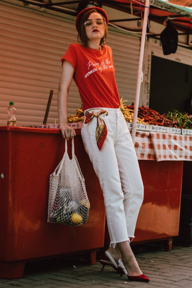 Mango trending feminist t-shirt, feminist tee trending on pinterest and instagram, feminist t-shirt, feminist, zara white raw hem mom jeans, levi's fit white mom jeans, mango conscious organic cotton white mom jeans, raw hem denim, straight leg white jeans, the best white jeans you will find on market, farmers market lifestyle editorial, farmers market fashion editorial, flea market red beret, how to wear a red beret like a parisian, ways to wearing a beret, how to wear a beret, how to pull off a beret, what to wear with red, red and white outfit, j'adior lookalike red velvet slingback shoes, kitten heel dior sling back shoes, slingbacks, jadior shoes, j'adior, red velvet shoes, best shoes for summer and fall autumn, red shoes, how to wear red shoes like a pro, velvet trend 2017, the net bag that is all over instagra, the ugly net bag all bloggers are wearing, crochet bag, summer crochet bag, red beret, topshop clear lens gold aviator glasses, frames, sunglasses, sunnies, how to wear clear lens glasses and not look like a nerd, how to pull of the clear lens glasses trend, prescription glasses, andreea birsan, couturezilla, cute summer outfit ideas 2017, vintage lookalike red scarf, silk scarf, 100 ways of wearing a scarf, statement earrings, thunder earrings, cool earrings from hm, bershka red feminist t-shirt, trending in fashion, how to look Parisian chic, European summer street style inspiration for women 2017, pinterest chic outfit ideas for woman, summer outfit ideas, summer ootd inspiration, outfit of the day, ootd, fashion icon, style inspiration, fashionista, fashion inspiration, style inspo, what to wear in summer, how to look French, chic on a budget, zara outfit, mango, topshop, asos, river island, forever 21, urban outfitters, how to mix high end pieces with luxury ones, zara and Gucci, how to look chic when not wearing a dress, outfit alternatives for summer, tomboy chic, minimal outfit, tumblr girls photos, pictures, happy girl, women, smart casual out