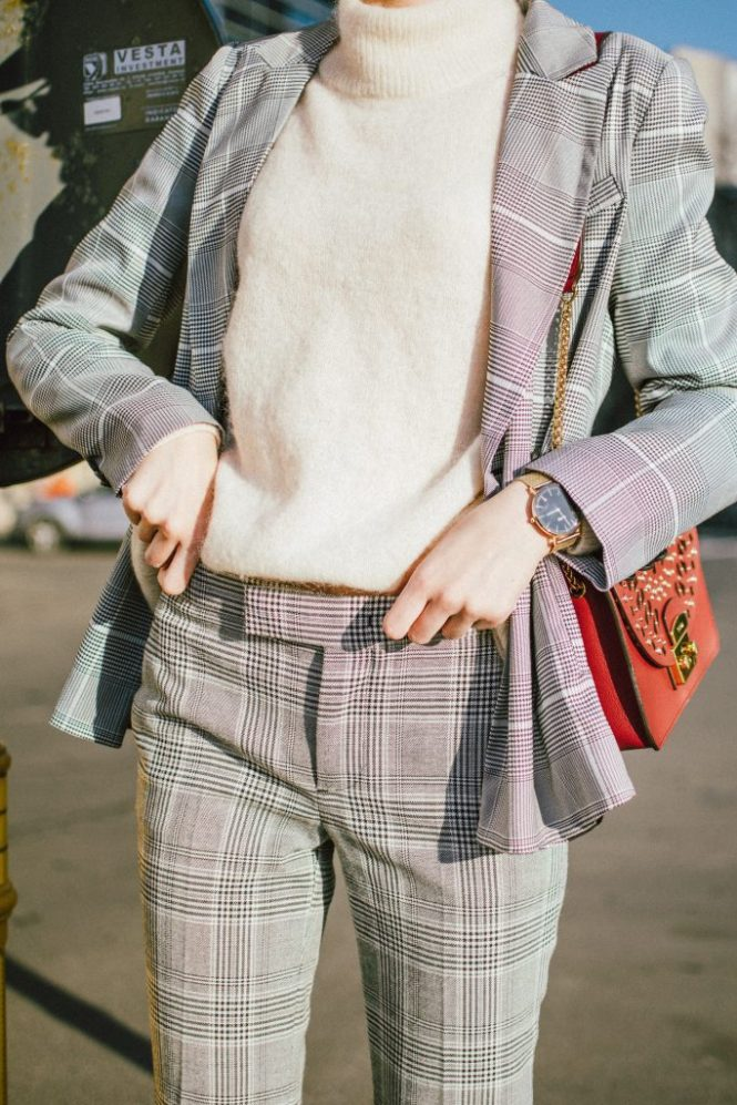 Zara check printed blazer in grey, oversized blazer, grey check printed suit, how to wear check prints, how to wear a suit for women, mango checked flared trousers, check printed cropped trousers, checked pants, bootcut trousers, baker boy cap, newsboy cap in black, newsboy hat, marina inspired outfit, business outfit with a twist for winter, black heeled sock boots, red furla metropolis lace cut bag, ruby red large furla metropolis, h&m balloon sleeves cashmere sweater in beige , andreea birsan, couturezilla, cute winter and fall outfit ideas for 2017 and 2018, work appropriate outfit, clear lens aviator sunglasses, how to pull off the clear lens glasses from instagram, check printed statement earrings, how to look Parisian chic, European summer street style inspiration for women 2017, pinterest chic outfit ideas for woman, summer outfit ideas, summer ootd inspiration, outfit of the day, ootd, fashion icon, style inspiration, fashionista, fashion inspiration, style inspo, what to wear in summer, how to look French, chic on a budget, zara outfit, mango, topshop, asos, river island, forever 21, urban outfitters, how to mix high end pieces with luxury ones, zara and Gucci,outfit alternatives for summer, tomboy chic, minimal outfit, tumblr girls photos, pictures, happy girl, women, smart casual outfits, the best outfit ideas 2017, what to wear when you don't feel inspired, summer in Europe, weekend attire, uniform, French women in summer, European outfit ideas 2017, minimal chic outfit, how to stand out, the best outfit ideas for summer, the sunglasses you have seen everywhere on Instagram, glasses, uk fashion blogger, united kingdom, uk fashion blog, fashion and travel blog, Europe, women with style, street style, summer fashion trends 2017, best fashion ideas, styling, fall fashion, fall outfit, fall ootd, fall perfect, transitional dressing, best transitional outfit ideas, how to wear statement earrings, dressing for autumn, autumn outfit, winter outfit ideas for work and school 2017