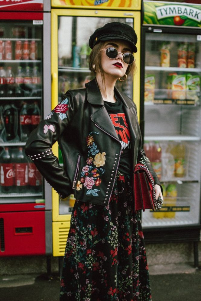 Mango floral midi dress, beautiful dress with floral print, zara embroidered floral biker leather jacket with studs, jacket with flowers, balenciaga patent biker boots with buckles, fishnet tights with colorful rhinestones, fun stockings, graphic rock tee, punk t-shirt, black baker boy hat, gucci dionysus red suede shoulder bag, andreea birsan, couturezilla, cute winter outfit ideas 2017, how to layer a summer floral dress in winter, how to mix floral prints, gold hoop medium sized hoop earrings, balenciaga dupe biker boots, balenciaga lookalike patent biker boots, how to wear a floral embroidered jacket, newsboy hat, cap, the popular instagram hat all fashion bloggers are wearing, overl sunglasses with gold details, t-shirt over dress, gucci dionysus lookalike bag, dupe, how to wear a red bag, how to look Parisian chic, European summer street style inspiration for women 2017, pinterest chic outfit ideas for woman, summer outfit ideas, summer ootd inspiration, outfit of the day, ootd, fashion icon, style inspiration, fashionista, fashion inspiration, style inspo, what to wear in summer, how to look French, chic on a budget, zara outfit, mango, topshop, asos, river island, forever 21, urban outfitters, how to mix high end pieces with luxury ones, zara and Gucci,outfit alternatives for summer, tomboy chic, minimal outfit, tumblr girls photos, pictures, happy girl, women, smart casual outfits, the best outfit ideas 2017, what to wear when you don't feel inspired, summer in Europe, weekend attire, uniform, French women in summer, European outfit ideas 2017, minimal chic outfit, how to stand out, the best outfit ideas for summer, the sunglasses you have seen everywhere on Instagram, glasses, uk fashion blogger, united kingdom, uk fashion blog, fashion and travel blog, Europe, women with style, street style, summer fashion trends 2017, best fashion ideas, styling, fall fashion, fall outfit, fall ootd, fall perfect, transitional dressing, best transitional outfit ideas, how to wear statement earrings, dressing for autumn, autumn outfit, winter outfit ideas for work and school 2017