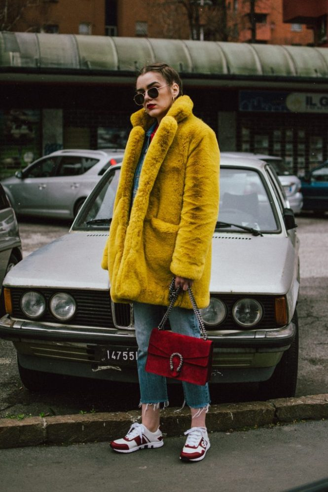 0c554cad086 Airport outfit  double denim   yellow faux fur coat • Couturezilla