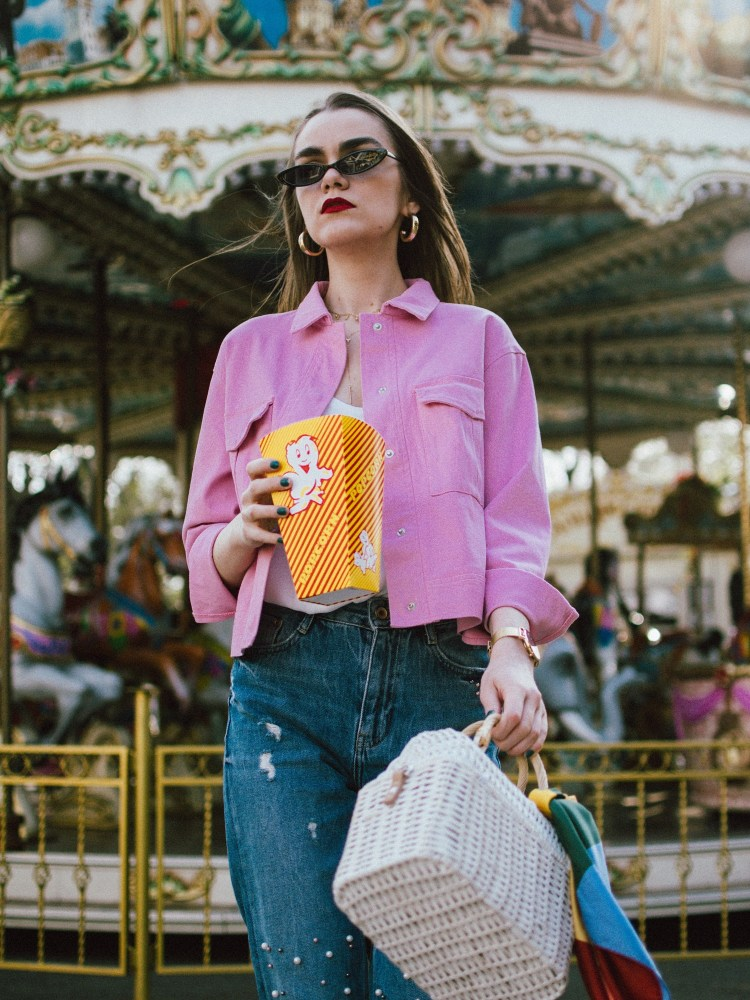 Pink cropped jacket, pearl embellishes mom jeans, pink mules, white straw bag, micro sunglasses, andreea birsan, couturezilla, cute spring outfit ideas 2018, pink dehim jacket, pink jacket, cotton jacket, how to wear double denim like a fashion blogger, canadian tuxedo how to, white cami top, spaghetti straps top, camisole, how to wear a camisole, the zara sold out pearl embellished mom jeans, step hem mom jeans, pearl jeans, pearl denim, pearled jeans, the best jeans with pearls, pink suede wconcept kitten heel mules, marcie pink mules with kitten heel, pink mules, how to wear mules, what to wear with mules, how to pull off double denim, the small sunglasses trend, micro sunglasses, matrix sunglasses, 90s sunglasses, small cat eye sunglasses from asos, sold out small sunglasses, where to find the best small sunglasses, layered gold necklaces, wconcept, w concept, designer, gold hoop earrings, bamboo basket bag in white, limited edition raffia bag, cutest bag from mango, beautiful bag on a budget, straw bag for summer, how to wear the straw bag trend, striped scarf, carousel, popcorn, blue and pink, how to wear pink without looking too feminine, kitten heels, mules, slides, how to look Parisian chic, European summer street style inspiration for women 2017, pinterest chic outfit ideas for woman, summer outfit ideas, summer ootd inspiration, outfit of the day, ootd, fashion icon, style inspiration, fashionista, fashion inspiration, style inspo, what to wear in summer, how to look French, chic on a budget, zara outfit, mango, topshop, asos, river island, forever 21, urban outfitters, how to mix high end pieces with luxury ones, zara and Gucci,outfit alternatives for summer, tomboy chic, minimal outfit, tumblr girls photos, pictures, happy girl, women, smart casual outfits, the best outfit ideas 2017, what to wear when you don't feel inspired, summer in Europe, weekend attire, uniform, French women in summer, European outfit ideas 2017, minimal chic outfit, how to stand