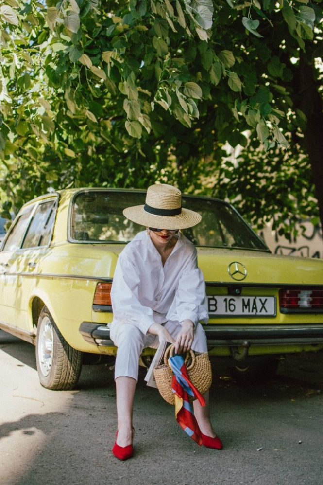 White trousers, summer bags, white shirt, straw hat, straw bag, red slingbacks, andreea birsan, couturezilla, cute spring outfit ideas 2018 (8)