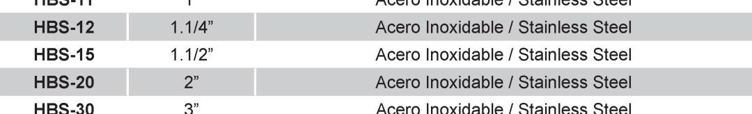 PARTE HSB - PARTE HBS De Acero Inoxidable para Acoples Camlock