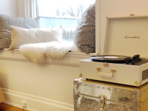 window seat with record player