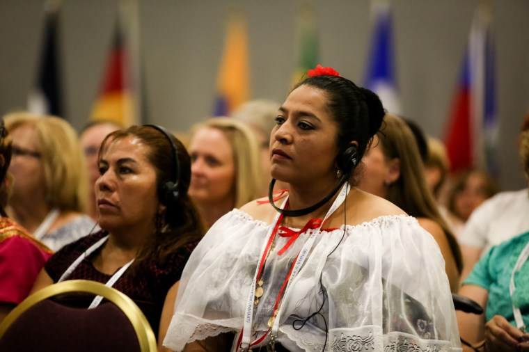 Women from around the world are attending the service, which is being translated into their native languages.